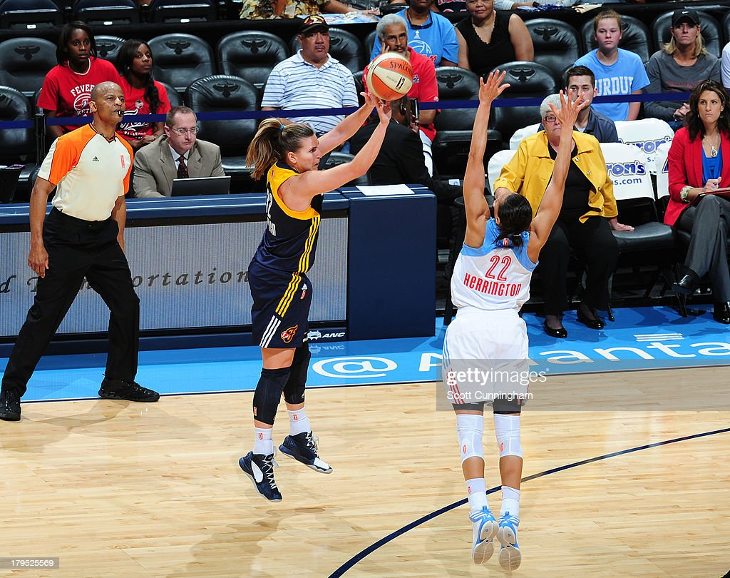 <a gi-track='captionPersonalityLinkClicked' href=/galleries/search?phrase=Jeanette+Pohlen&family=editorial&specificpeople=4225971 ng-click='$event.stopPropagation()'>Jeanette Pohlen</a> #32 of the Indiana Fever puts up a shot against the Atlanta Dream at Philips Arena on September 4 2013 in Atlanta, Georgia.