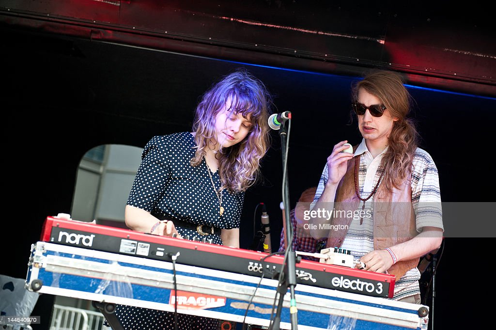 Jeanette Stewart and Paul Ross of Slow Down, Molasses perform on stage at the Dr Martins street gig airstream trailor during The Great Escape Festival on May 10, 2012 in Brighton, United Kingdom.