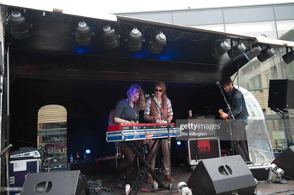 Jeanette Stewart, Paul Ross and Tyson McShane of Slow Down, Molasses perform on stage at the Dr Martins street gig airstream trailor during The Great Escape Festival on May 10, 2012 in Brighton, United Kingdom.