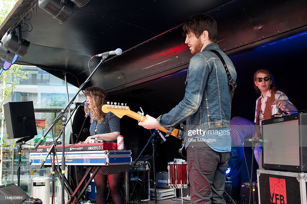 Jeanette Stewart, Tyson McShane and Paul Ross of Slow Down, Molasses perform on stage at the Dr Martins street gig airstream trailor during The Great Escape Festival on May 10, 2012 in Brighton, United Kingdom.