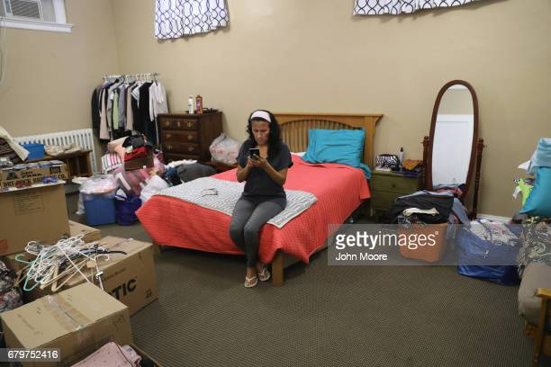 Jeanette Vizguerra takes sanctuary in a classroom at the First Baptist Church on May 5 2017 in Denver Colorado Vizguerra who has lived in the US for...