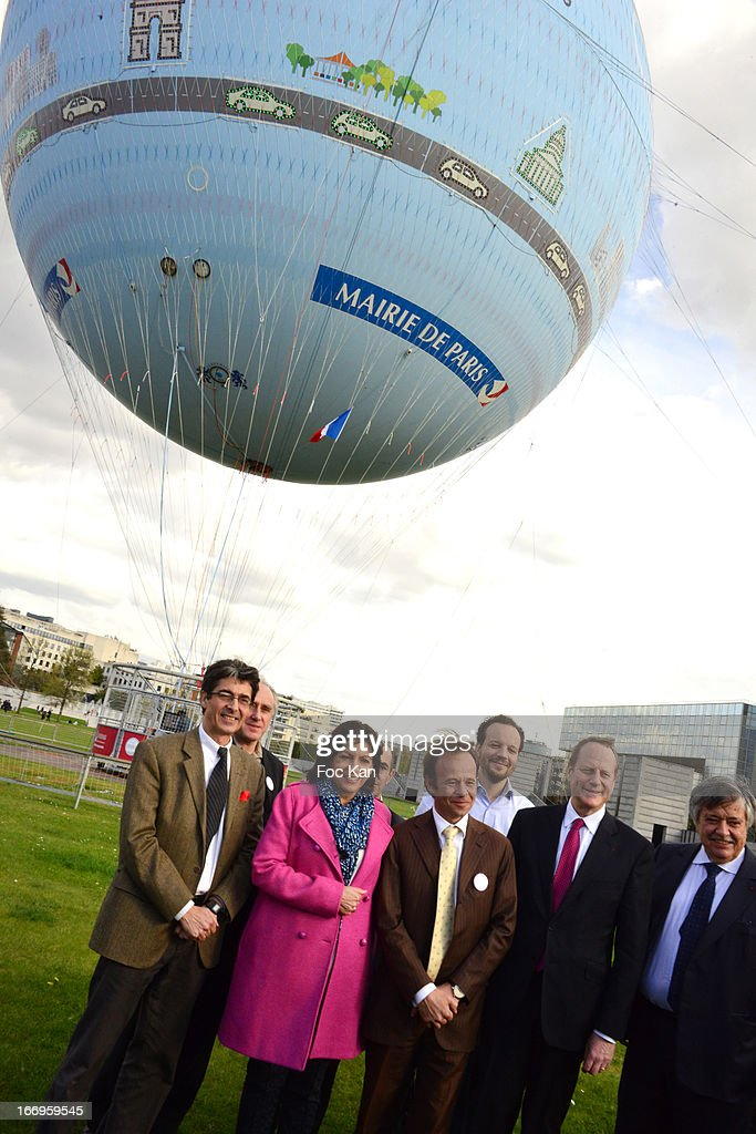 Jean-Felix Bernard, a guest, Anne Hidalgo, Matthieu Gobbi; a guest, Jean Francois Lamour, Claude Tendil and Jerome Giacomoni attend the Launch of the new Paris Observatory Atmospheric Generali Balloon, at Parc Andre Citroen on April 18, 2013 in Paris, France.