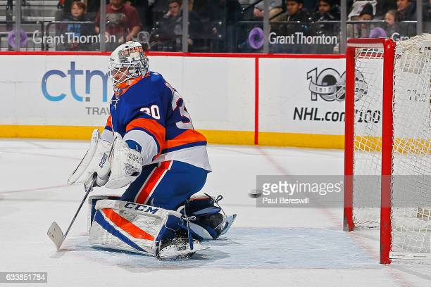 JeanFrancois Berube of the New York Islanders allows the game winning goal in overtime to Ron Hainsey of the Carolina Hurricanes at Barclays Center...
