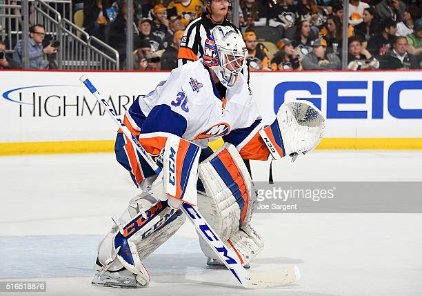 JeanFrancois Berube of the New York Islanders defends the net against thePittsburgh Penguins at Consol Energy Center on March 15 2016 in Pittsburgh...
