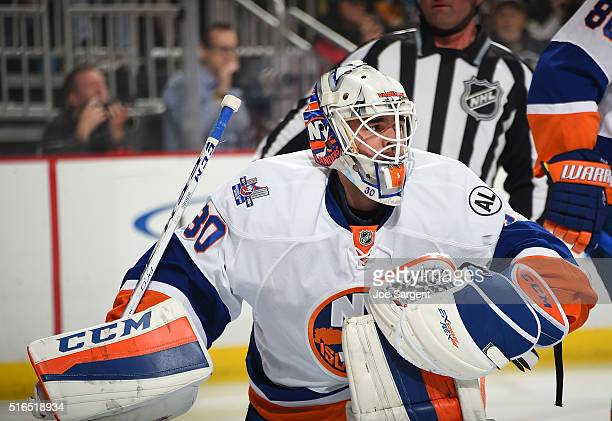 JeanFrancois Berube of the New York Islanders defends the net against the Pittsburgh Penguins at Consol Energy Center on March 15 2016 in Pittsburgh...