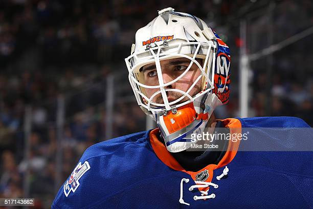 JeanFrancois Berube of the New York Islanders looks on against Ottawa Senators at the Barclays Center on March 23 2016 in Brooklyn borough of New...