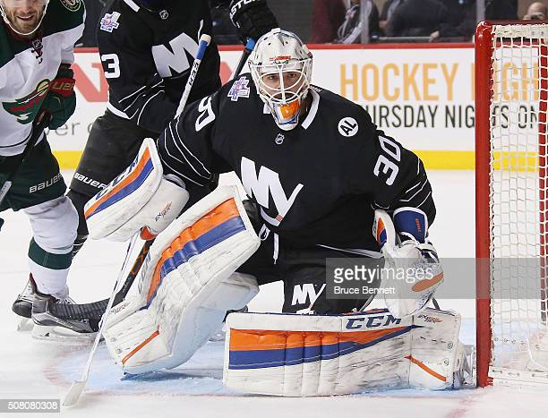 JeanFrancois Berube of the New York Islanders skates against the Minnesota Wild at the Barclays Center on February 2 2016 in the Brooklyn borough of...