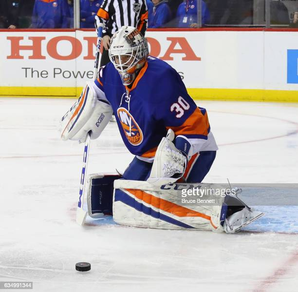 JeanFrancois Berube of the New York Islanders skates against the Colorado Avalanche at the Barclays Center on February 12 2017 in the Brooklyn...