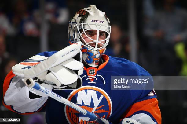 JeanFrancois Berube of the New York Islanders skates against the Carolina Hurricanes at the Barclays Center on March 13 2017 in Brooklyn borough of...
