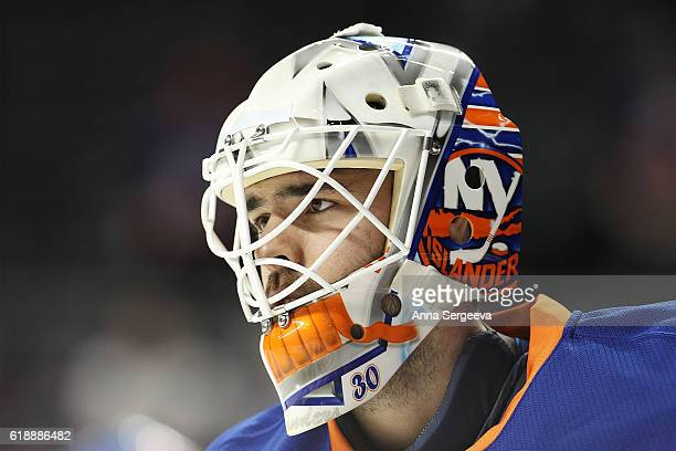 JeanFrancois Berube of the New York Islanders skates during warm ups prior the game against the Montreal Canadiens at the Barclays Center on October...