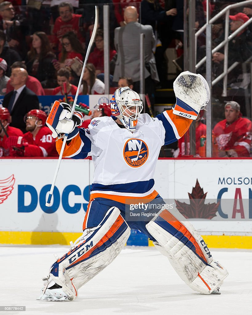 Jean-Francois Berube #30 of the New York Islanders takes the ice in exchange for teammate <a gi-track='captionPersonalityLinkClicked' href=/galleries/search?phrase=Jaroslav+Halak&family=editorial&specificpeople=2285591 ng-click='$event.stopPropagation()'>Jaroslav Halak</a> #41(not pictured) during an NHL game at Joe Louis Arena on February 6, 2016 in Detroit, Michigan.