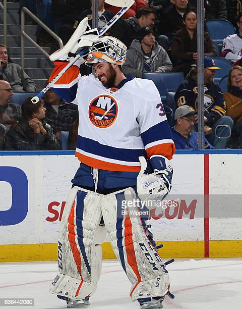 JeanFrancois Berube of the New York Islanders tends goal against the Buffalo Sabres during an NHL game at the KeyBank Center on December 16 2016 in...