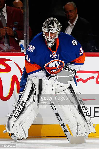 JeanFrancois Berube of the New York Islanders warmsup prior to the game against the Nashville Predators at the Barclays Center on October 15 2015 in...