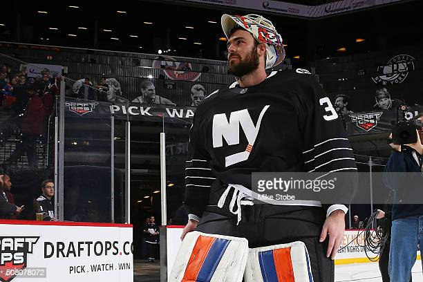 JeanFrancois Berube of the New York Islanders waves to the crowd after being awarded the third star of the game at the Barclays Center on February 2...