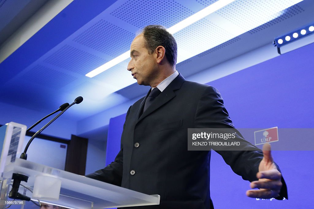 Jean-Francois Cope, the head of France's right-wing UMP opposition, arrives at the party headquarters for a press conference on November 26, 2012 in Paris. Former prime minister Francois Fillon, 58, and ambitious UMP secretary general Jean-Francois Cope, 48, have traded accusations of fraud and bad faith since last November 18 party vote ended with Cope ahead by a handful of votes.