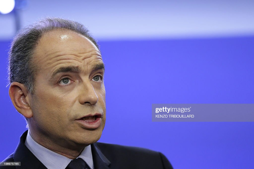 Jean-Francois Cope, the head of France's right-wing UMP opposition, gives a press conference at the party headquarters on November 26, 2012 in Paris. Former prime minister Francois Fillon, 58, and ambitious UMP secretary general Jean-Francois Cope, 48, have traded accusations of fraud and bad faith since last November 18 party vote ended with Cope ahead by a handful of votes.