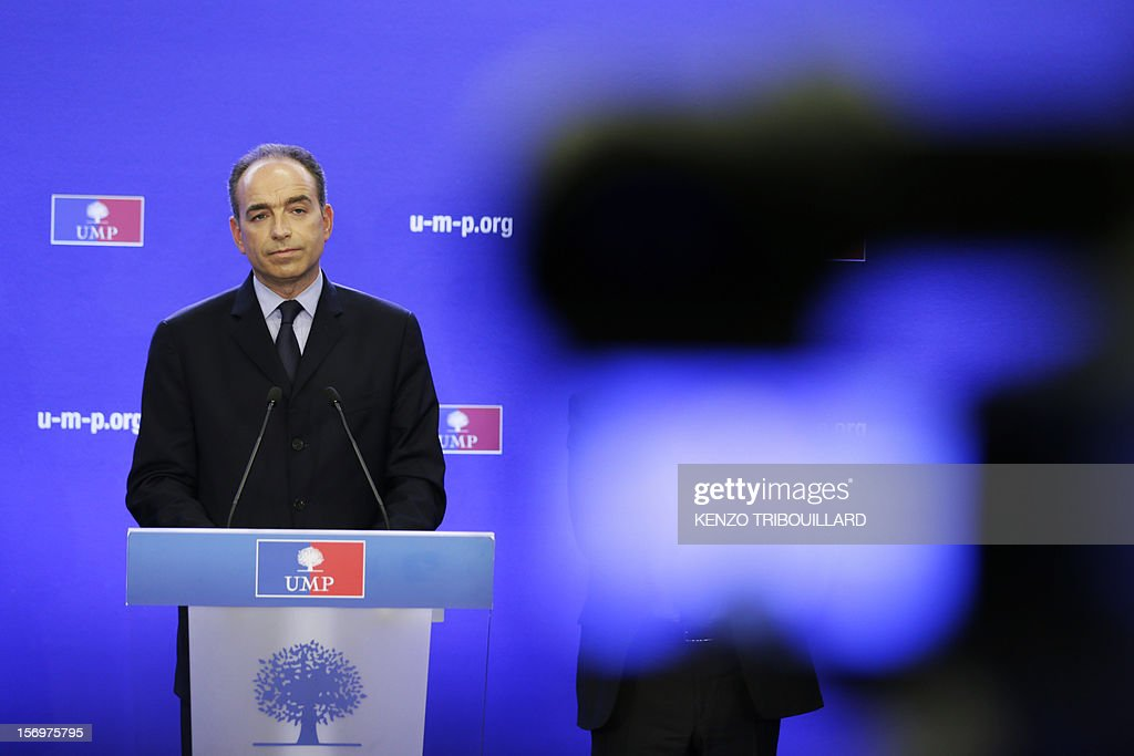 Jean-Francois Cope, the head of France's right-wing UMP opposition, gives a press conference at the party headquarters on November 26, 2012 in Paris. Former prime minister Francois Fillon, 58, and ambitious UMP secretary general Jean-Francois Cope, 48, have traded accusations of fraud and bad faith since last November 18 party vote ended with Cope ahead by a handful of votes. AFP PHOTO / KENZO TRIBOUILLARD
