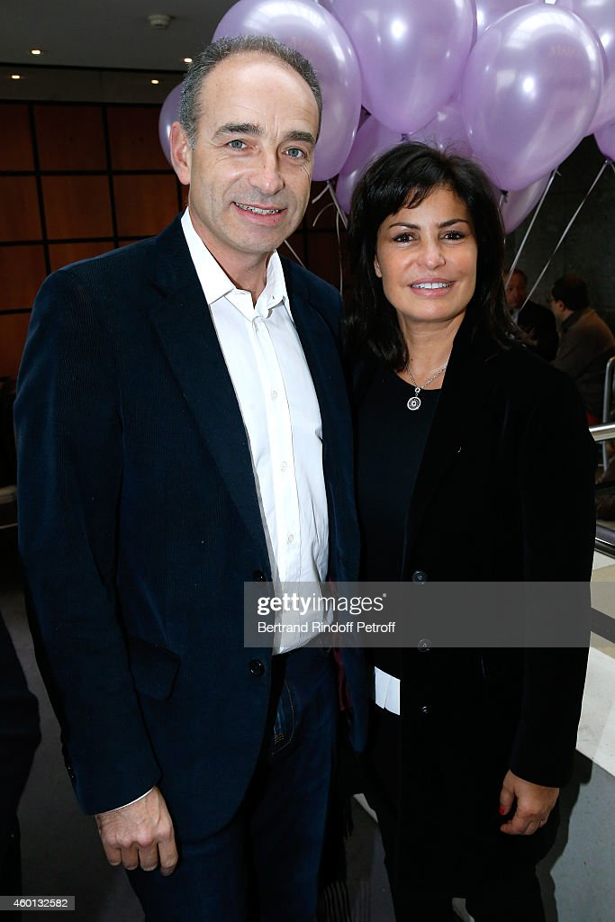 Jean-Francois Cope with his wife Nadia attend the Matinee 'Reve d'enfants' with Opera 'Casse Noisette'. Organized by AROP at Opera Bastille on December 7, 2014 in Paris, France.