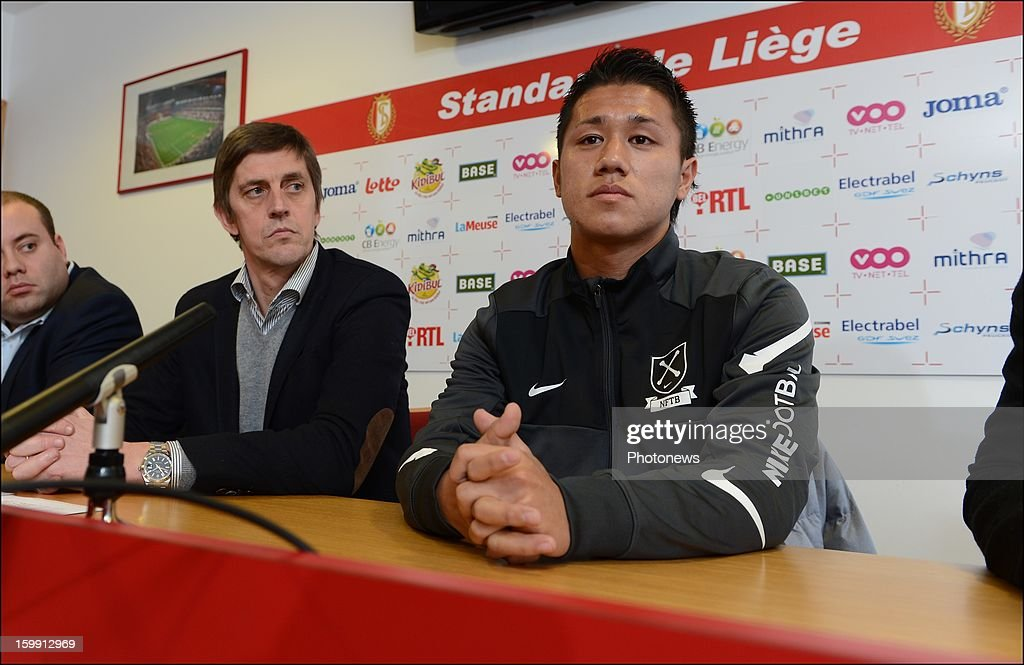 Jean-Francois de Sart and Yuji Ono pictured during an official presentation as new player of Standard Liege on January 22, 2013 in Liege, Belgium.