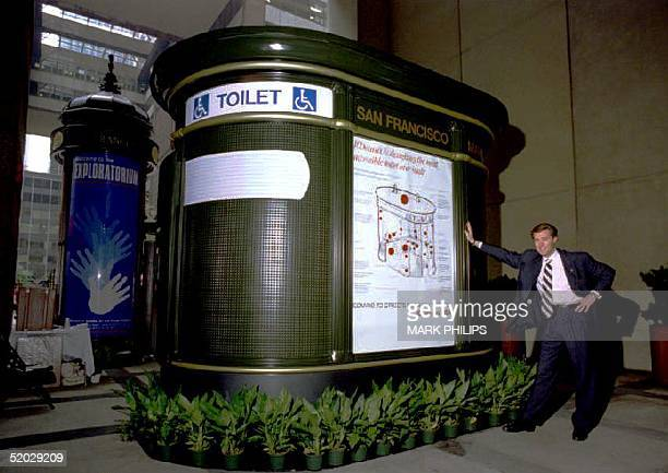 JeanFrancois Decaux CEO of JCDecaux stands with his company's Universally Accesible Automatic Public Toilet and kiosk newsstand in midtown Manhattan...