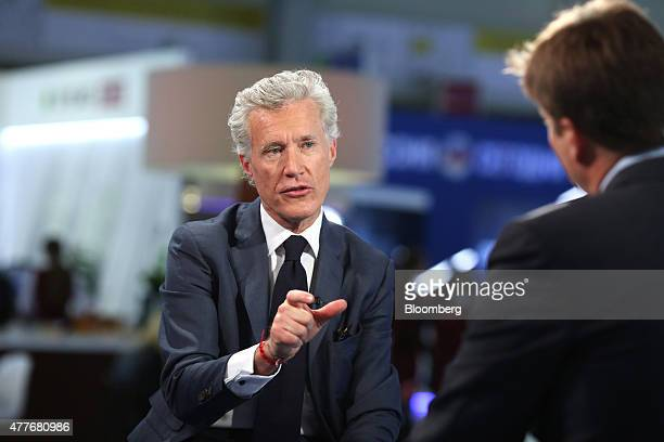 JeanFrancois Decaux cochief executive officer of JCDecaux SA gestures as he speaks during a Bloomberg Television interview at the St Petersburg...