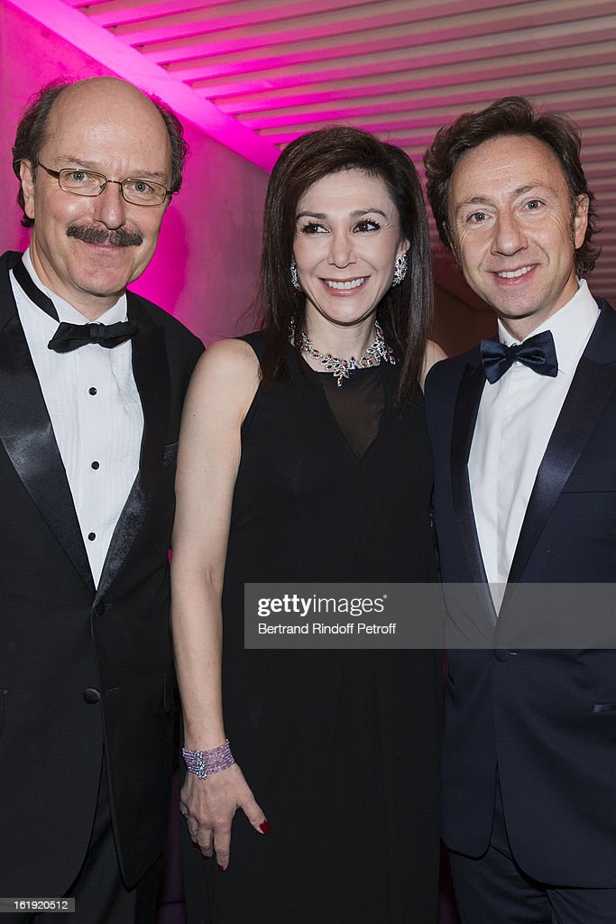 Jean-Francois Emery, Vice-President of the 'Nuit des neiges' foundation, Linda Barras, President of the event, and Stephane Bern, French journalist and author, attend the 30th edition of 'La Nuit Des Neiges' Charity Gala on February 16, 2013 in Crans-Montana, Switzerland.
