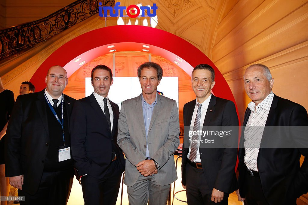 Jean-Francois Jeanne (L), <a gi-track='captionPersonalityLinkClicked' href=/galleries/search?phrase=Michel+Desjoyeaux&family=editorial&specificpeople=546222 ng-click='$event.stopPropagation()'>Michel Desjoyeaux</a> (C) and Philippe Blatter (2ndR) attend the 'Trophees Sporsora Du Marketing Sportif': 10th Edition at La Sorbonne on January 20, 2014 in Paris, France.
