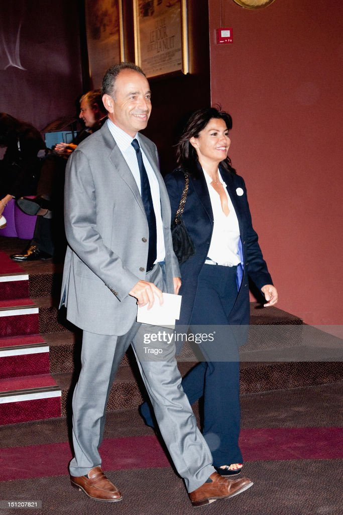 Jean-François Copé and Nadia d'Alincourt attend 'Ce Que Le Jour Doit A La Nuit' at Cinema Gaumont Marignan on September 3, 2012 in Paris, France.