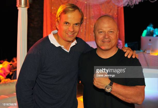 JeanFrederic Dufour and Michael Chiklis attend the Best Buddies Challenge Neptune Pool Party at Hearst Castle on September 8 2012 in San Simeon...