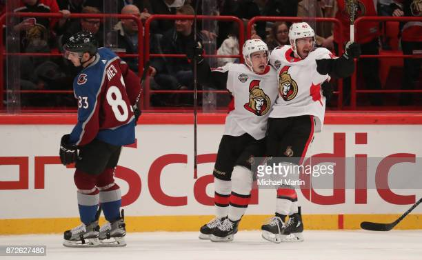 JeanGabriel Pageau and Christopher DiDomenico of the Ottawa Senators celebrate a goal against the Colorado Avalanche at the Ericsson Globe on...