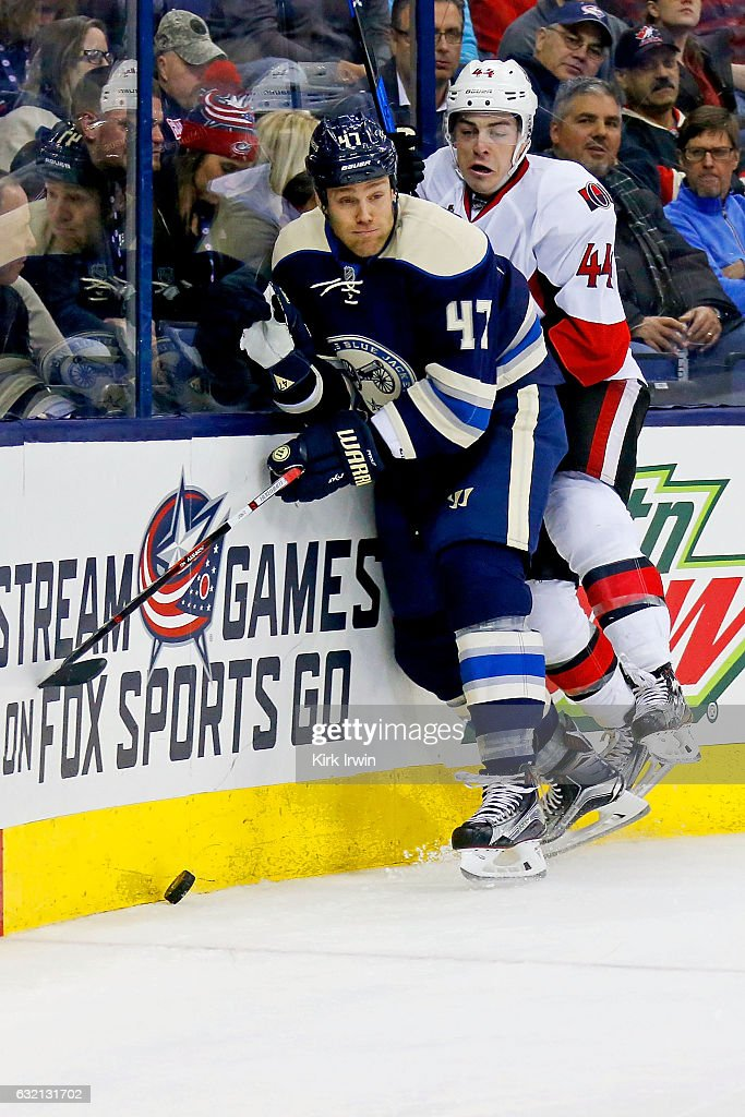 Jean-Gabriel Pageau #44 of the Ottawa Senators attempts to check Dalton Prout #47 of the Columbus Blue Jackets while chasing after a loose puck during the third period on January 19, 2017 at Nationwide Arena in Columbus, Ohio. Ottawa defeated Columbus 2-0.