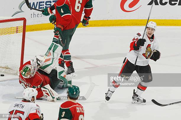 JeanGabriel Pageau of the Ottawa Senators celebrates after scoring a goal against Devan Dubnyk of the Minnesota Wild during the game on March 31 2016...