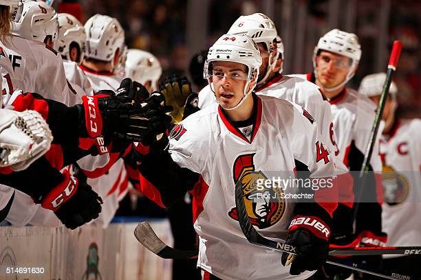 JeanGabriel Pageau of the Ottawa Senators celebrates his goal with teammates during the first period against the Florida Panthers at the BBT Center...