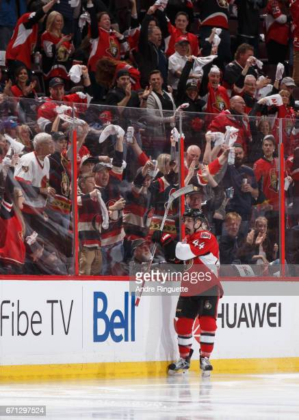 JeanGabriel Pageau of the Ottawa Senators celebrates his second period goal against the Boston Bruins in Game Five of the Eastern Conference First...