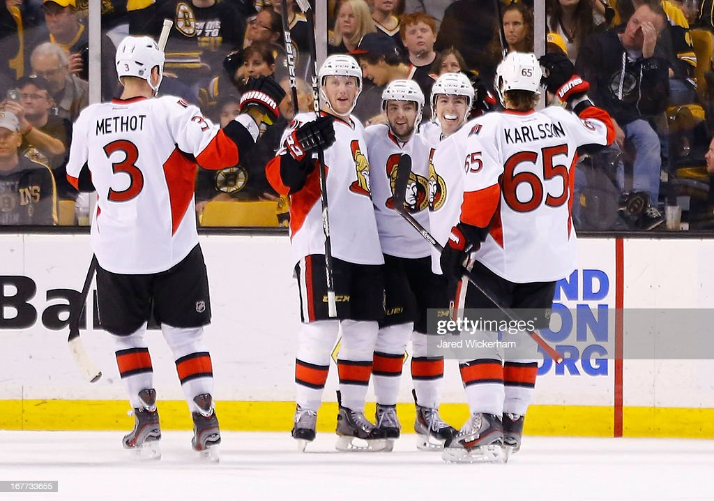 Jean-Gabriel Pageau #44 of the Ottawa Senators celebrates with teammates after scoring in the third period to take a 3-2 lead against the Boston Bruins during the game on April 28, 2013 at TD Garden in Boston, Massachusetts.