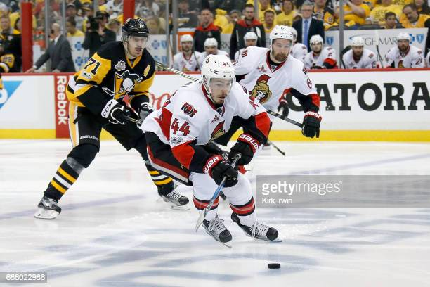 JeanGabriel Pageau of the Ottawa Senators controls the puck in Game Five of the Eastern Conference Final during the 2017 NHL Stanley Cup Playoffs...