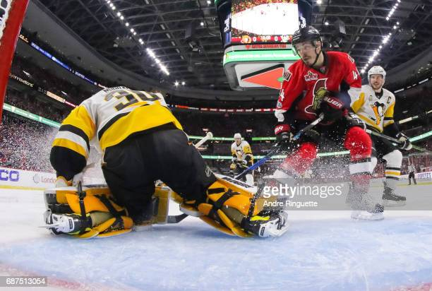 JeanGabriel Pageau of the Ottawa Senators drives the net against Matt Murray of the Pittsburgh Penguins in Game Six of the Eastern Conference Final...