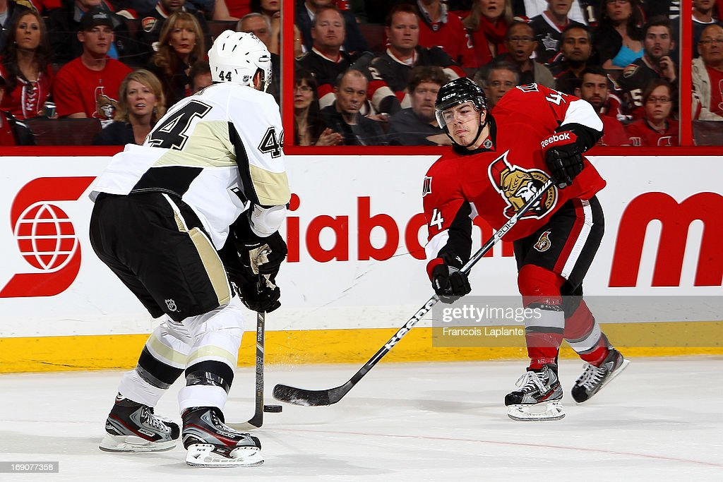 Jean-Gabriel Pageau #44 of the Ottawa Senators fires a slapshot against Brooks Orpik #44 of the Pittsburgh Penguins in Game Three of the Eastern Conference Semifinals during the 2013 NHL Stanley Cup Playoffs at Scotiabank Place on May 19, 2013 in Ottawa, Ontario, Canada.