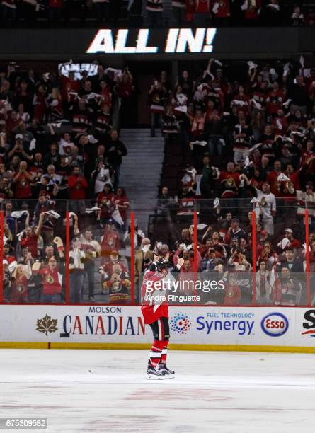 JeanGabriel Pageau of the Ottawa Senators gives thumbs up to the fans as he is named the first star after an overtime win against the New York...