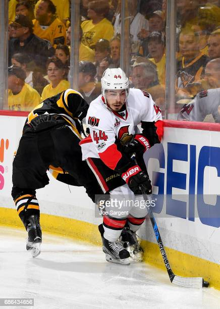 JeanGabriel Pageau of the Ottawa Senators handles the puck along the wall against the Pittsburgh Penguins in Game Five of the Eastern Conference...