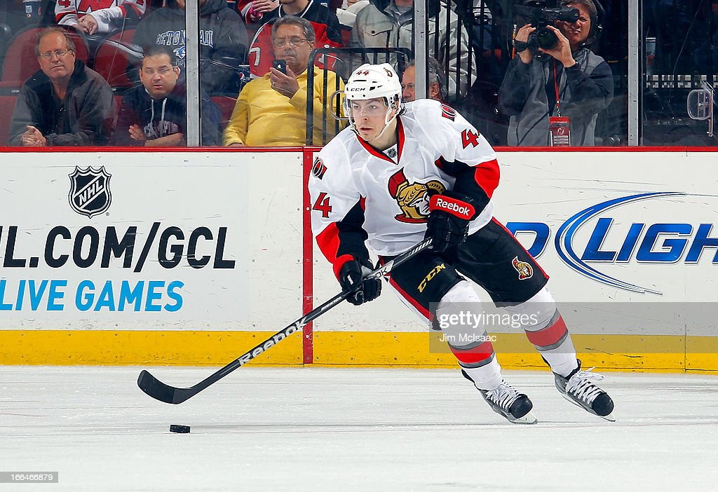 Jean-Gabriel Pageau #44 of the Ottawa Senators in action against the New Jersey Devils at the Prudential Center on April 12, 2013 in Newark, New Jersey. The Senators defeated the Devils 2-0.
