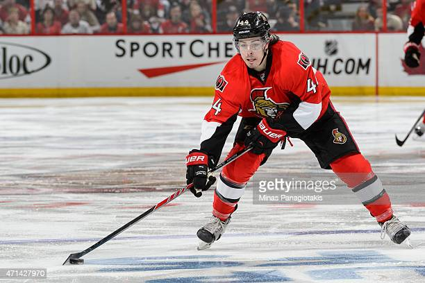 JeanGabriel Pageau of the Ottawa Senators moves the puck in Game Six of the Eastern Conference Quarterfinals against the Montreal Canadiens during...