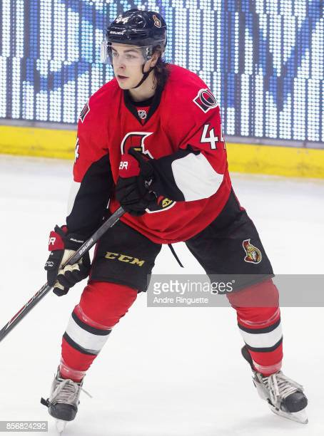 JeanGabriel Pageau of the Ottawa Senators plays in a game against the Florida Panthers at Canadian Tire Centre on February 21 2015 in Ottawa Ontario...