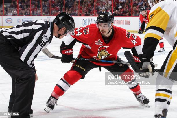 JeanGabriel Pageau of the Ottawa Senators prepares for a faceoff against the Pittsburgh Penguins in Game Four of the Eastern Conference Final during...