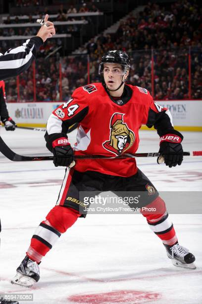 JeanGabriel Pageau of the Ottawa Senators prepares for a faceoff against the Detroit Red Wings at Canadian Tire Centre on October 7 2017 in Ottawa...