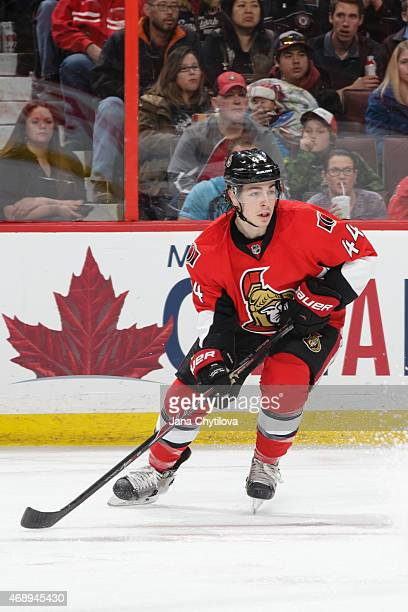 JeanGabriel Pageau of the Ottawa Senators skates against the Pittsburgh Penguins at Canadian Tire Centre on April 7 2015 in Ottawa Ontario Canada