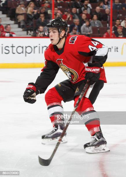 JeanGabriel Pageau of the Ottawa Senators skates against the Vancouver Canucks at Canadian Tire Centre on October 17 2017 in Ottawa Ontario Canada