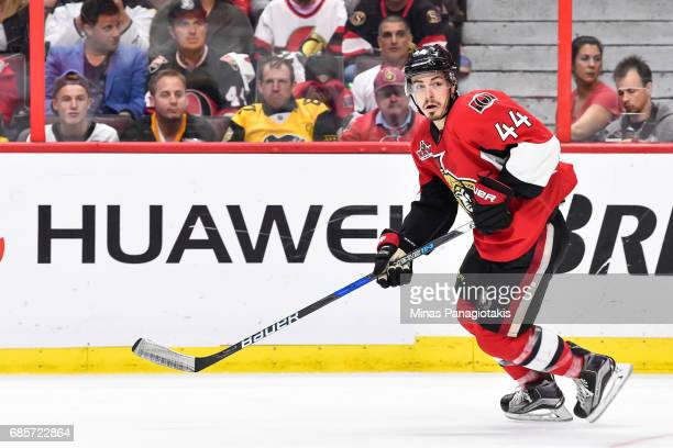 JeanGabriel Pageau of the Ottawa Senators skates against the Pittsburgh Penguins in Game Three of the Eastern Conference Final during the 2017 NHL...