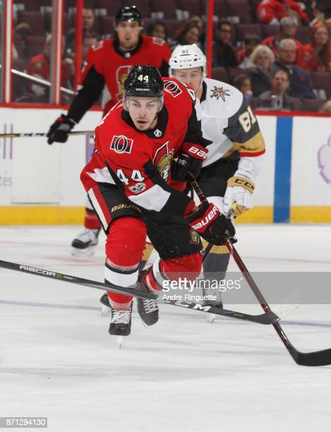 JeanGabriel Pageau of the Ottawa Senators skates against the Vegas Golden Knights at Canadian Tire Centre on November 4 2017 in Ottawa Ontario Canada