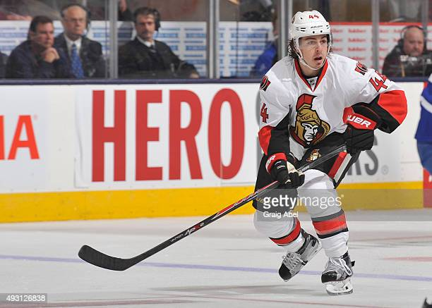 JeanGabriel Pageau of the Ottawa Senators skates during NHL game action against the Toronto Maple Leafs October 10 2015 at Air Canada Centre in...
